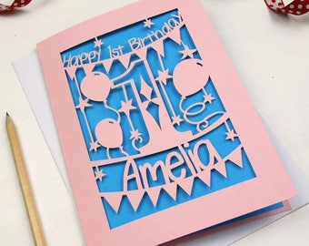 Personalised Papercut First Birthday Card, Laser Cut Birthday Card Name, Baby's First Birthday, Keepsake Special Birthday, sku_1_birthday