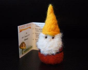 Pocket Gnome - Needle Felted Gnome - Felt Gnome - Orange Coat Yellow Hat