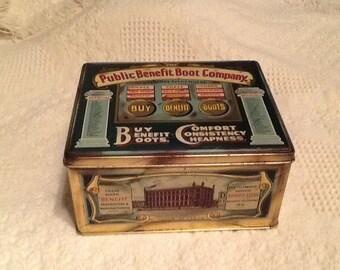Public Benefit Boot Company,  English Tin, 1930's