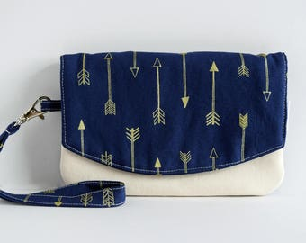Small Arrow Purse - Cellphone Wallet - Cell Phone Pouch - Fabric Purse - Blue Purse - Best Friend Gift for Her - Handmade by Zookaboo