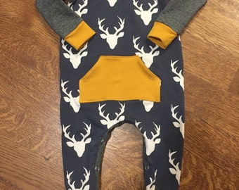 Baby Boy Mustard Navy Bucks Romper Available in Sizes Newborn to 2t