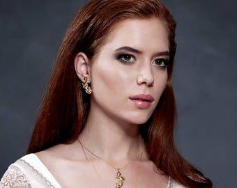 SALE - Unique Gift For Her, Bridal Necklace, Gold Bridal Necklace, Bridesmaid Gift, Wedding Jewelry, Gold Vintage Necklace