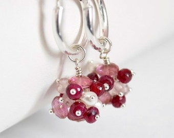 Valentine's Day Earrings, Pink Topaz and Ruby Clusters, Real Gemstone Jewelry, Sterling Silver Hoops, July Birthstone, Free Shipping