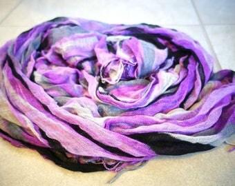 Vintage purple, lavender, gray, black rainbow scarf, rainbow wave long cotton scarf
