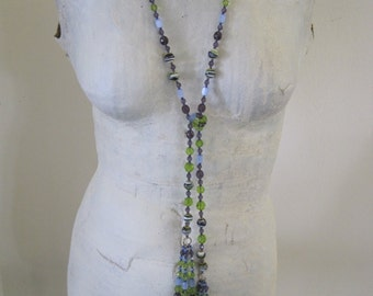 Handmade Vintage Glass Bead Flapper Style Necklace