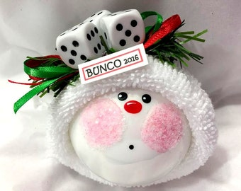 Bunco Christmas Ornaments Custom Hand Painted White Glass Handmade Personalized Themed by Townsend Custom Gifts - F - BackRoom