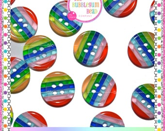 12.5mm RAINBOW STRIPED TRANSPARENT Buttons, Sewing Notions, Buttons, Four Hole Buttons, Whimsical Buttons, Craft Buttons, Craft Supplies