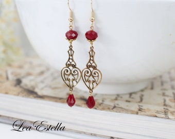 Vintage Art deco earrings Art deco earrings art nouveau Madmen Jewelry Red Victorian earrings Filigree earrings Crimson earrings - Ruby