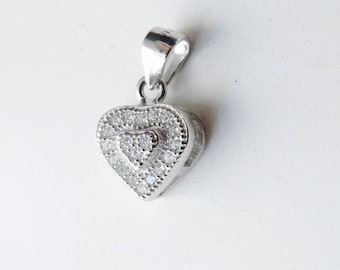 1 PC  sterling silver  heart charm with cz , cz heart charm (8.4x10mm with bail 14.2mm jump ring )