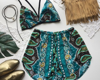 Woodstock Turquoise retro paisley Festival Outfit Matching set hippie crop triangle bra top bralette and high waist racer shorts