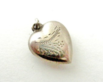 English antique sterling silver puffy heart charm or pendant hand engraved