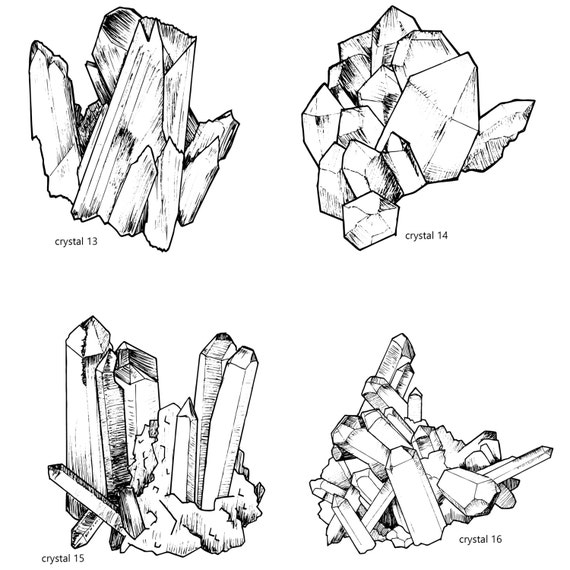 Handrawn Crystal Cluster Clipart, Crystal Lineart, Magical ...