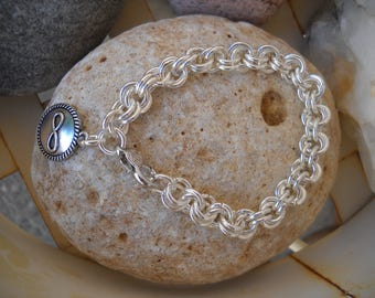 Silver Chainmaille Link Bracelet with Silver Infinity Charm