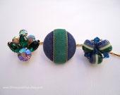 Vintage earring hair bobbies - Blue green gem beaded clusters rhinestones fabric velvet unique jeweled embellish decorative hair accessories
