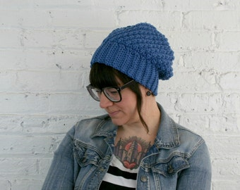 Slouch Hat - Blue Textured Slouch Beanie - Super Warm Baggy Hat
