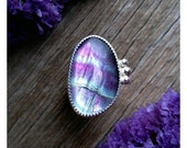 RESERVED Custom Sterling Silver Fluorite Ring Size 6 Purple Green Gemstone Jewelry Final Payment Maria