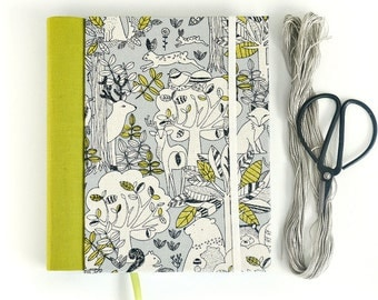 Fabric journal // WOODLANDS hardbound spiral notebook jotter diary