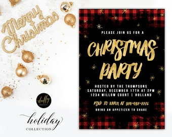 Christmas Party Invitation, Holiday Party Invitation, Holiday Party, Christmas Party Invite, Plaid Christmas 5x7 PRINTABLE INVITE Red Green