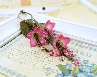 Shimmering Pink Lucite Flower Necklace, Fairy Necklace, Vintage Inspired Flower Necklace, Charm Necklace