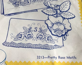 Aunt Martha's Vintage Embroidery Hot Iron Transfers 3213 Pretty Rose Motifs Alphabet // Flowers Floral // Stamps for Pillowcases