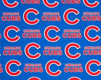 "REMNANT - 15"" x 28"" - Chicago Cubs fabric Major League Baseball MLB Teams 100% cotton fabric blue red baseball fabric"