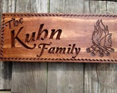 Personalized Camping Sign, Family Campsite Sign, Last Name Sign, Custom Camper Sign, Campfire Sign, Carved Wooden Sign, Many Color Choices
