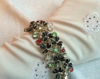 Vintage Jewelcraft Paste Crystal Enamel Shamrock Bracelet