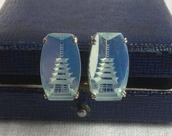 Vintage Opaline Glass Silver Japanese Temple Earrings