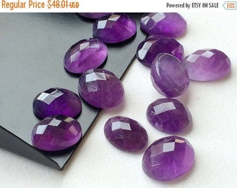 ON SALE 55% Amethyst Cabochon Lot, Oval Cut Faceted Calibrated Amethyst, 11x9mm Each 10 Pieces, 40.80 Carats, Beautiful African Amethyst