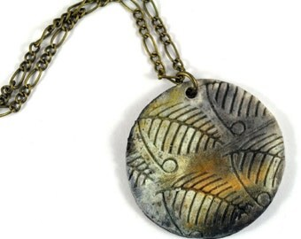 Handmade Pendant Reversible Necklace Boho Smoke Fired Statement Jewelry Ceramic Fern Imprint Moon Print  Pottery Round Gift Pouch