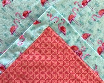 FLAMINGOS and PINEAPPLE Baby Girl Handmade Flannel Swaddle Blanket
