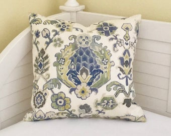 Kravet Saroukrug in Ultramarine Linen Designer Pillow Cover - Square  and  Euro Sizes