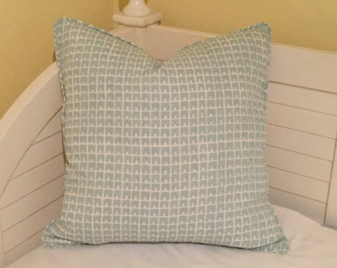 Quadrille China Seas Fez in Cadet Blue Designer Pillow Cover with Piping -  Square, Lumbar and Euro Sizes
