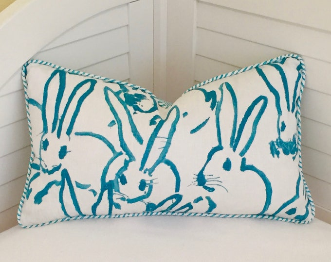 Groundworks Bunny Hutch in Turquoise Designer Lumbar Pillow Cover with Wavy Stripe Piping