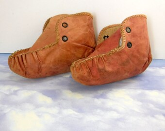 Antique Leather Baby Booties Collectible