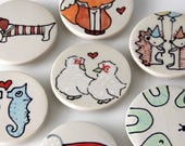 Chickens and Heart Magnet Handmade Ceramic Refrigerator Magnet Chicken Illustration Animal themed Pottery Cute Magnets Small Gifts Under 10