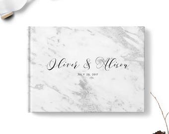 Simple guest book, Landscape or Portrait, Wedding guest book, Gray Marble gb0100