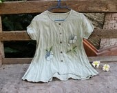 M-L Short Sleeves Bohemian Embroidered Top - Light Green