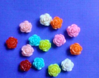So cute mini mini rose cabochons decoden deco diy charms   14 pcs---USA seller