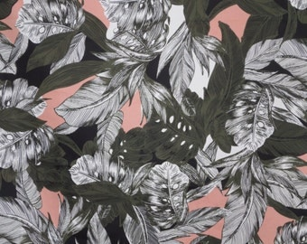 Olive Green and Peach Tropical Leaf Print Stretch Cotton Sateen Fabric--By the Yard