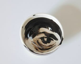 Abstract Eye Bowl, Black and White Eye Bowl, Porcelain Bowl, One of Kind, Hand Painted Bowl
