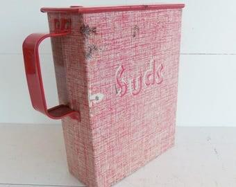Vintage Laundry Soap Dispenser, Laundry Room Decor, Soap Flakes Tin, Soap Detergent Dispenser