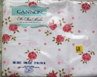"""Vintage Twin Falt No-Iron Muslin Cannon Sheet NOS New Old Stock 72 x 104"""" Pink Roses"""