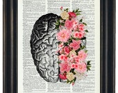 BOGO 1/2 OFF Brain Illustration with Flowers  A HHP Original Design Anatomy Art Dictioanry Prints