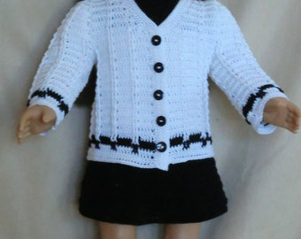 AG 248 Button Down Sweater  Crochet Pattern for American girl dolls
