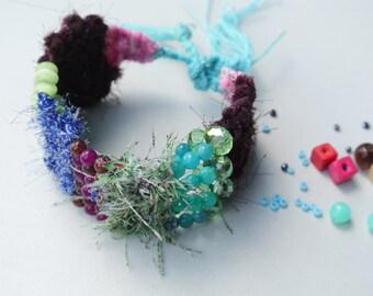 Recycled Fabric Beaded Bracelet,hand woven cuff,fabric weave bracelet,boho cuff,stone brace let, woven cuff,upcycling jewelry,weave jewelry
