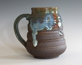 Pottery Mug, 18 oz, unique coffee mug, handmade ceramic cup, handthrown mug, stoneware mug, wheel thrown pottery mug, ceramics