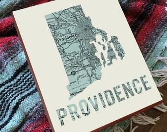 Providence - Rhode Island Map - Providence RI - Rhode Island Map - Providence RI Art - Wood Block Wall Art Print