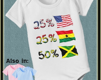 50 Ghana 25 Jamaica 25 USA American bodysuit baby infant country flag proud to be nationality family heritage