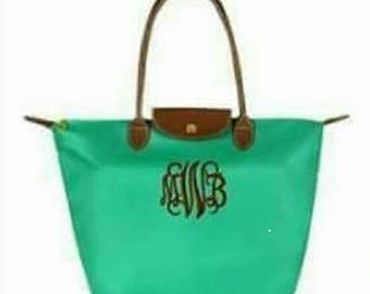 SHIPS NEXT DAY -- Personalized Monogrammed Designer Inspired Longchamp GReen Blue Mint Vinyl Nylon tote bag purse --Free Monogramming